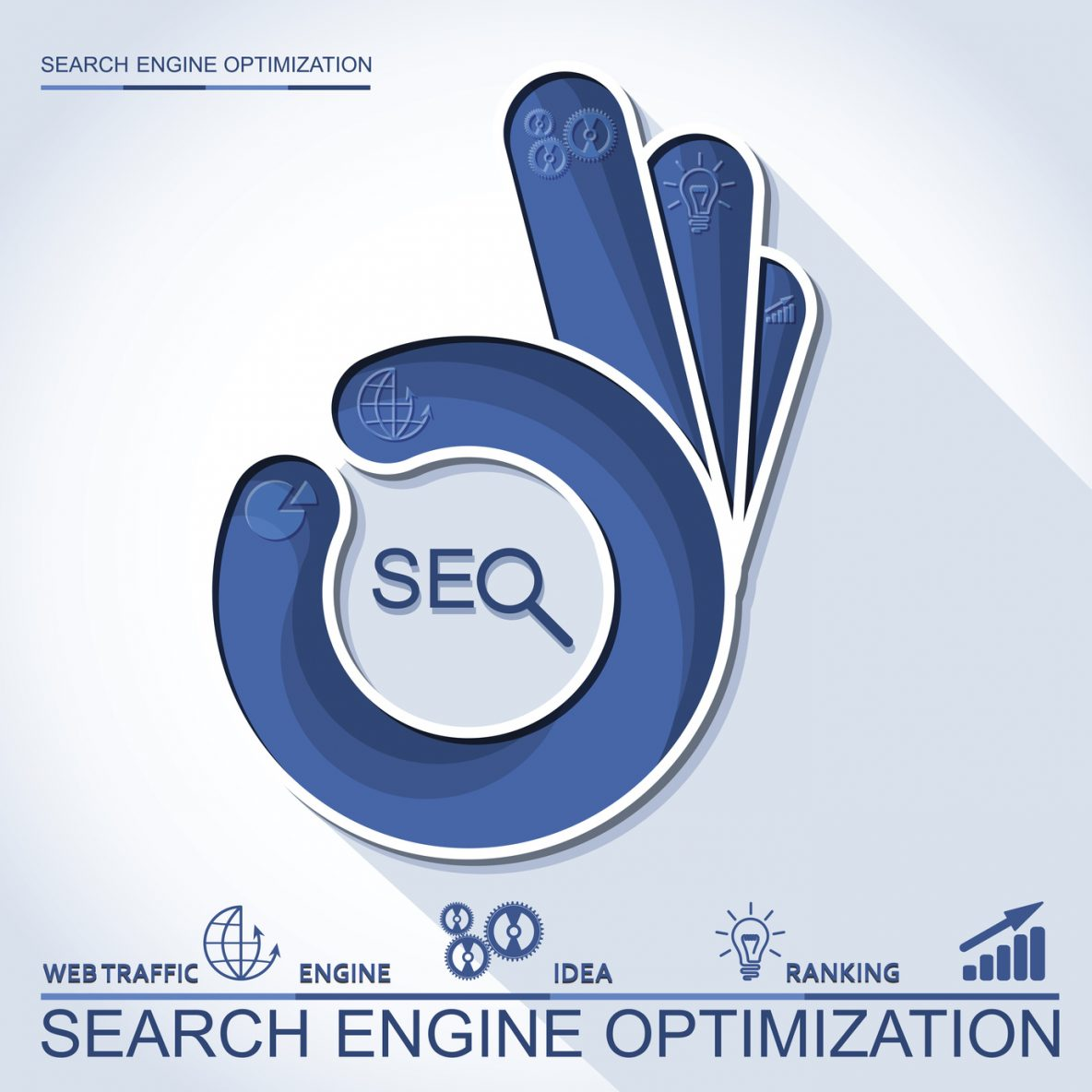 Infographic perfect search engine optimization. Concept with OK hand, vector